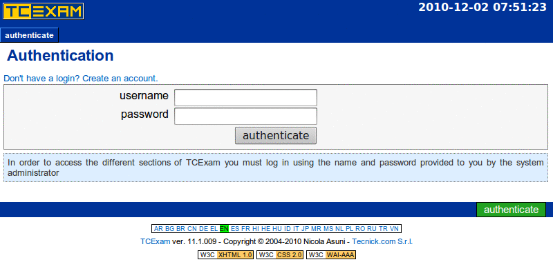 TCExam screenshot QG001