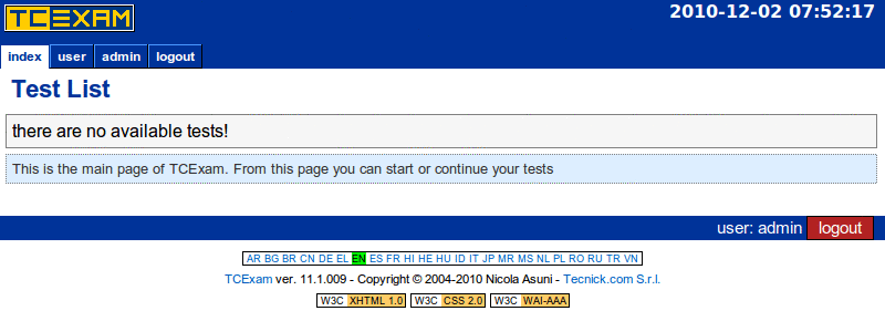 TCExam screenshot QG003