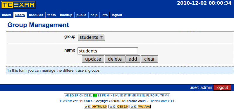 TCExam screenshot QG008