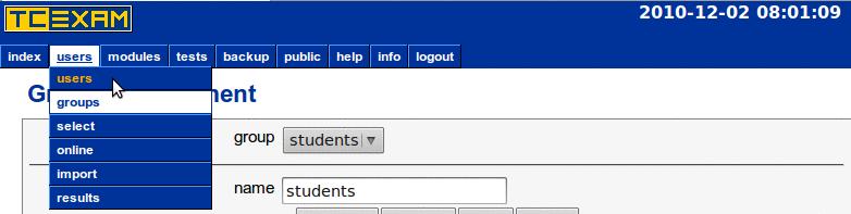 TCExam screenshot QG009