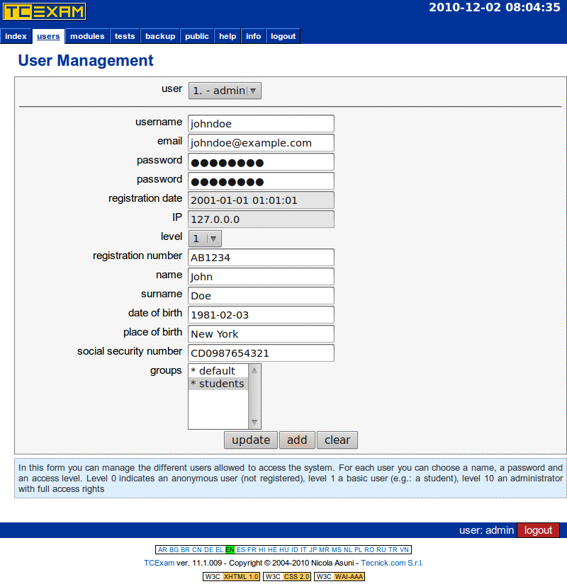 TCExam screenshot QG010