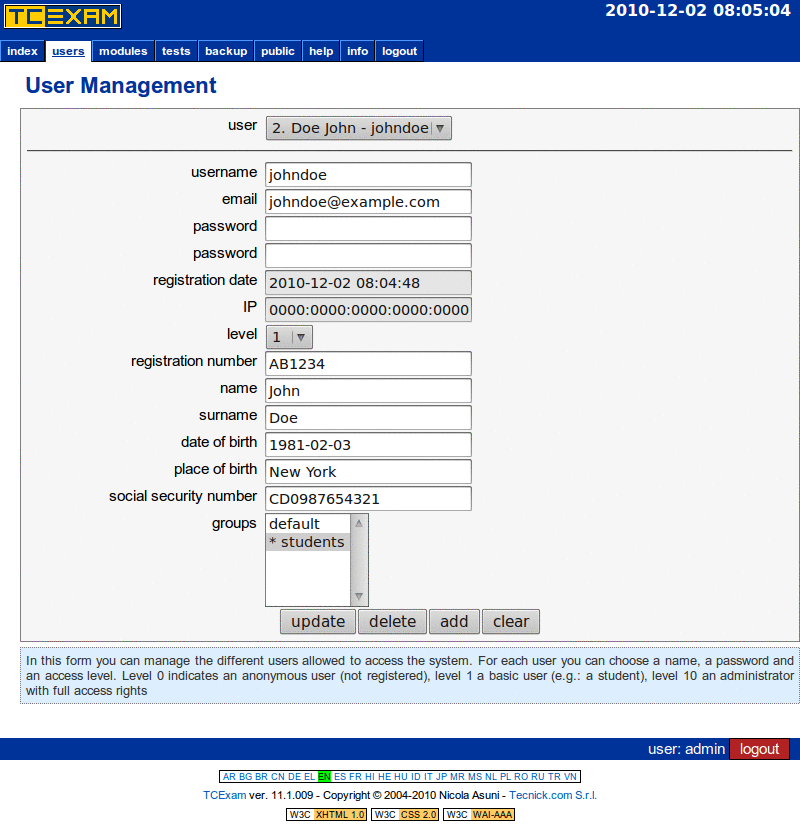 TCExam screenshot QG011