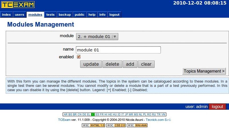 TCExam screenshot QG014