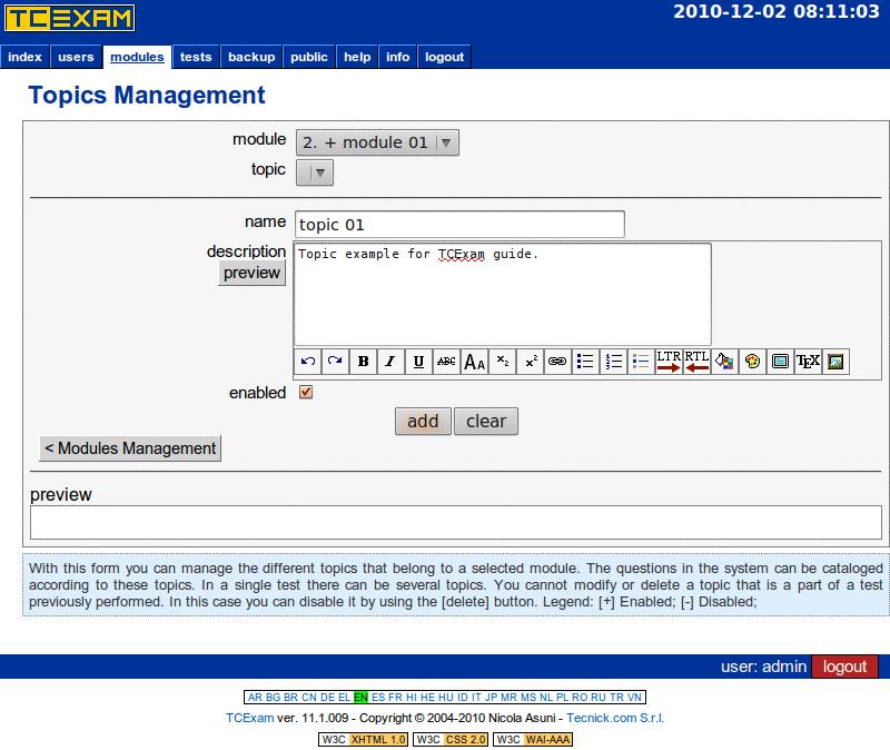 TCExam screenshot QG016
