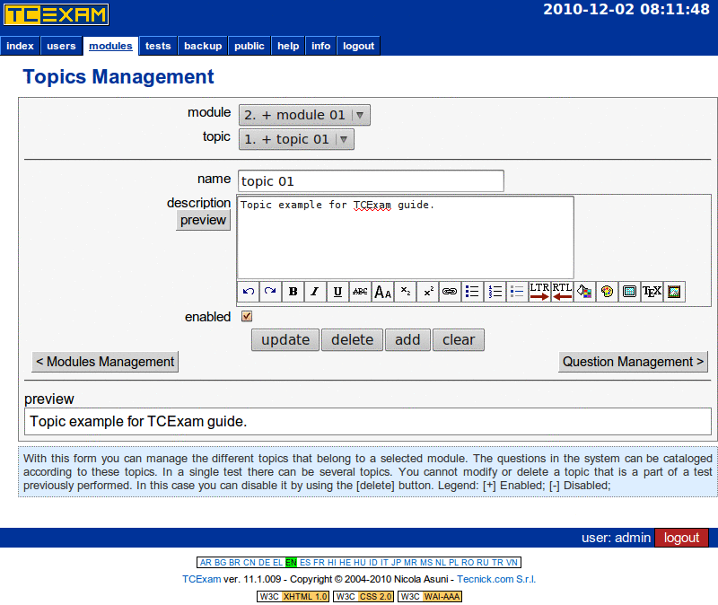 TCExam screenshot QG017