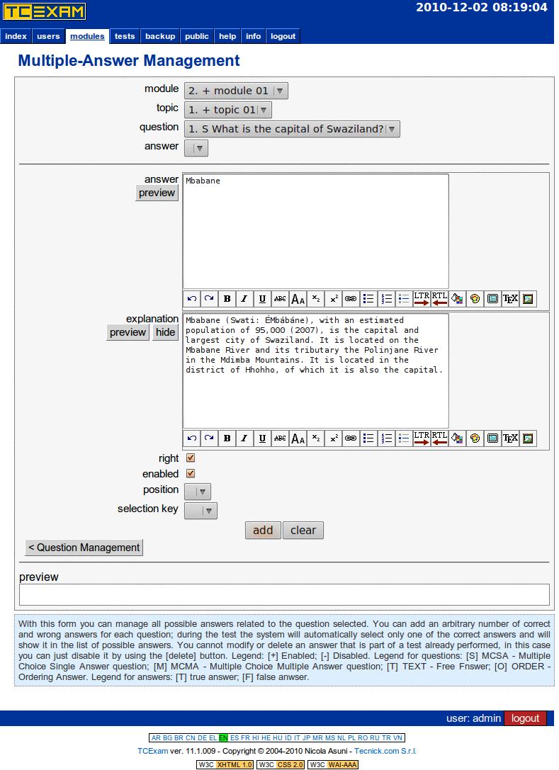 TCExam screenshot QG020