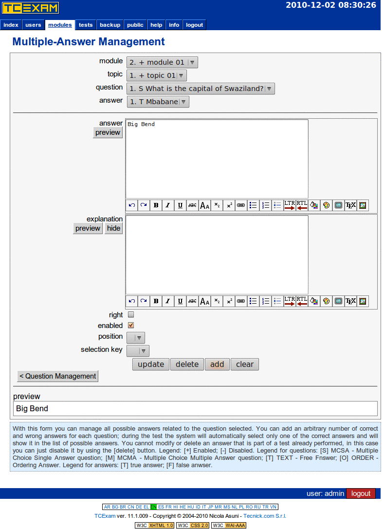 TCExam screenshot QG022
