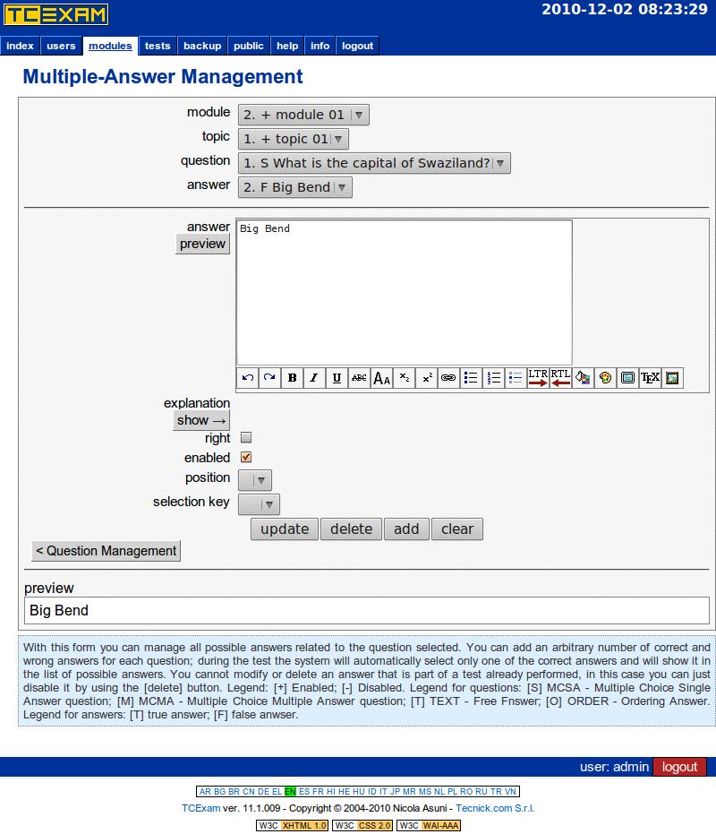 TCExam screenshot QG023