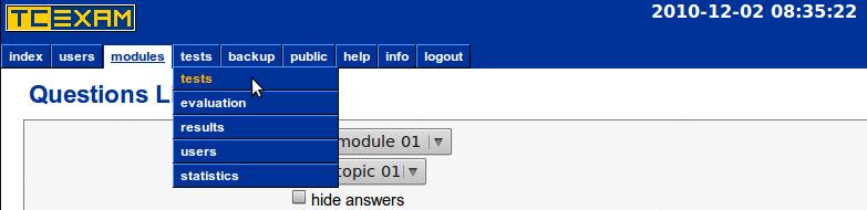 TCExam screenshot QG026
