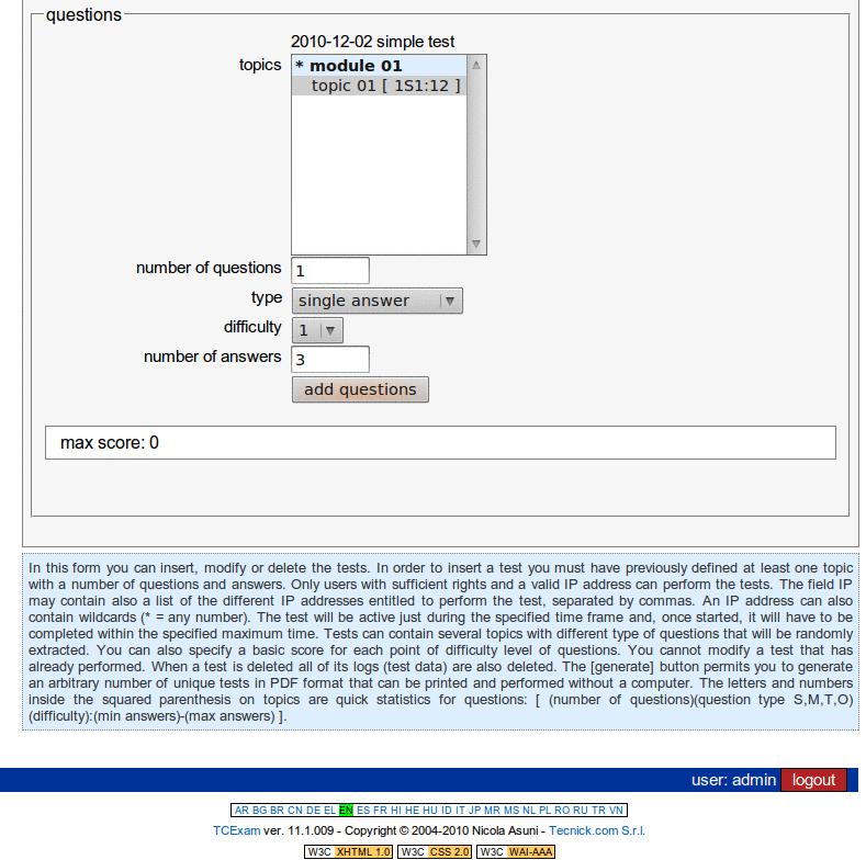 TCExam screenshot QG028