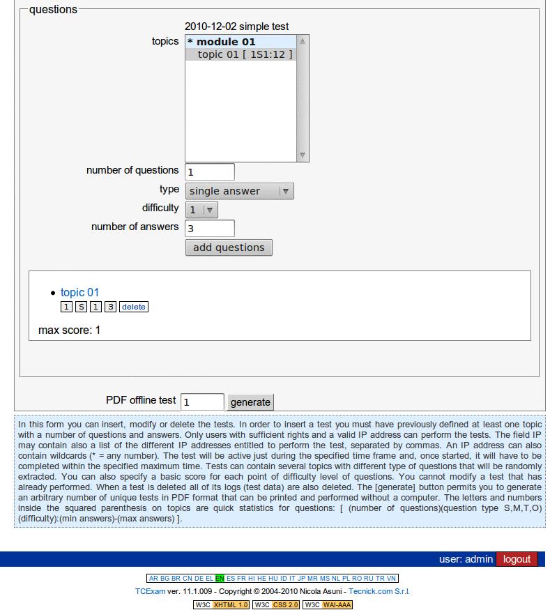 TCExam screenshot QG029