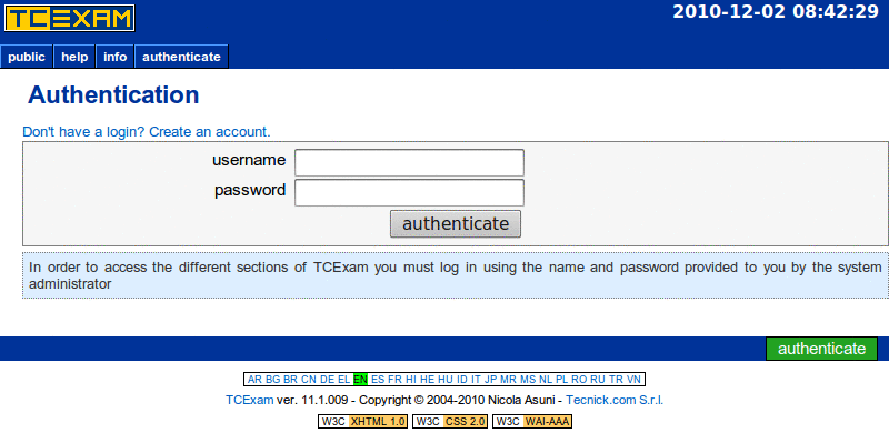 TCExam screenshot QG030