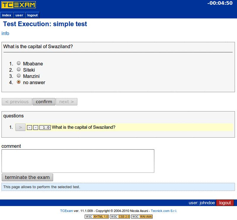 TCExam screenshot QG034