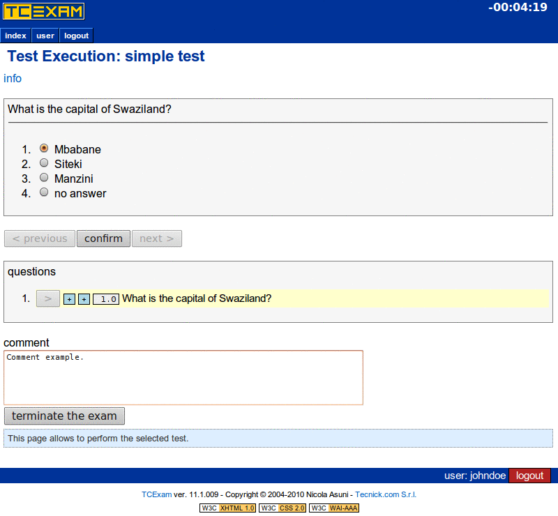 TCExam screenshot QG035