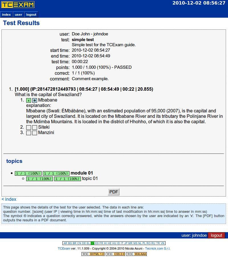 TCExam screenshot QG038