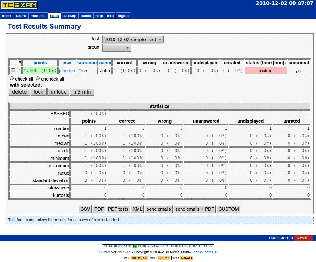 TCExam screenshot QG040