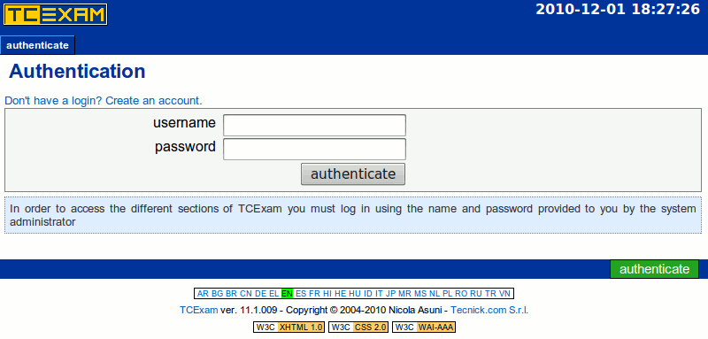 TCExam screenshot: public login